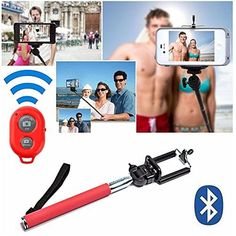 Valentines Day Gift for Him or Her Special Red Selfie Stick  Bluetooth Remote Control  Travel Bag  iPhone 7 7 Plus SE 6S 6S Plus 6 6 Plus 5 5S 5C 4S 4 Samsung Galaxy S6 S5 S4 S3 S2 more  DaVoice ** See this great product.