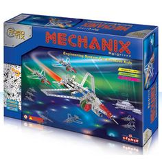 Mechanix Robotix — High quality steel crafted pieces, superiority plastics and selected tools. It contains 296 pieces of versatile and reusable parts to give your child endless hours of fun and creativity. Children can make 5 models from this kit.