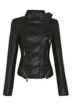 Zipped Hem Asymmetric Biker Jacket by: Oasap