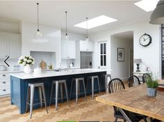 Nice lighting, like the mix of white cabinetry with darker island. 273 Trinity Road, London Nice lighting, like the mix of white cabinetry with darker island. Open Plan Kitchen Living Room, Kitchen Family Rooms, New Kitchen, Kitchen Dining, Kitchen Decor, Kitchen Ideas, Kitchen Island, Messy Kitchen, Awesome Kitchen