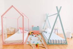Boy And Girl Shared Room, Boy Girl Bedroom, Baby Bedroom, Baby Room Decor, Girl Room, Teepee Bed, Toddler Rooms, Decoration, Montessori Bed