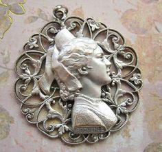 Antique French souvenir pendant Art Nouveau by DogDayAfternoons, $32.00