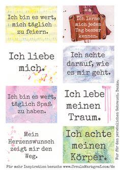 Affirmationen zum Thema Selbstachtsamkeit - kostenlos zum Herunterladen - von Ursula Markgraf