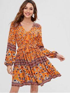 15307acee8a0d Floral Long Sleeve A Line BoHo Dress. Yellow Summer Dress, Yellow Flowy  Summer Dress