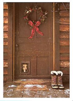 Golden Retriever Peering Out Christmas Cards - Box of 10 in Collectibles   eBay