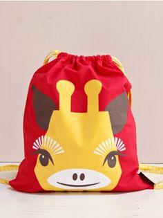Drawstring Bag w. Shoulder Straps, Giraffe