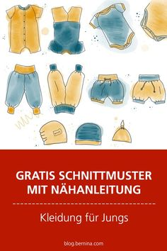 Free pattern with sewing instructions (Freebook): sewing clothes for boys - Nähen - Baby Ideas Boys Sewing Patterns, Sewing For Kids, Baby Sewing, Free Sewing, Pattern Sewing, Sewing Clothes, Diy Clothes, Sewing Hacks, Sewing Tutorials