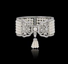 Tudor Rose pearl and white diamond cuff with su Tudor Rose Collections Garrard