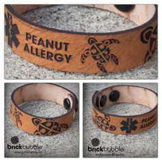 Brickbubble | custom medic alert leather cuff. #laserengraved #lasecut #medicalert
