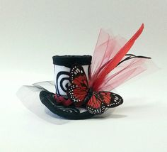 Mini Top Hat, Fascinator, Mad Hatter Hat, Red and Black Hat, Butterfly, Gothic, Children's Hat, Woman's Hat https://www.etsy.com/listing/182812401/mini-top-hat-fascinator-mad-hatter-hat