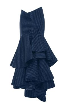 Ruffles especially work with the pinstripes. Would take a lot of fabric to make but would also be so very flattering. ~Pinstriped Linen Layered Ruffled Skirt by ROSIE ASSOULIN Now Available on Moda Operandi Ruffle Skirt, Dress Skirt, Ruffles, Jupe Short, Moda Chic, Jeans Denim, Skirt Outfits, Fashion Dresses, Rock