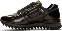 Alexander McQueen Black Leather Paneled Sneakers