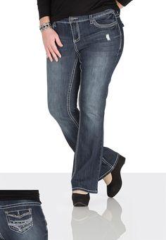 Denim Flex ™ Stud Embellished Flap pocket plus size jeans