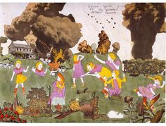 Henry Darger: At Aronburgs Run Glorinia, Vivian Girls Fired Upon By Glandelinian Cannon (detail).