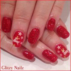 Christmas Red Glitter Nails with Reindeer Accent