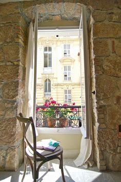 Window view, Cote d'Azur ~ Beautiful pink flowers on the balcony