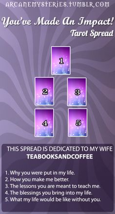 arcanemysteries:  You've Made An Impact Tarot Spread.Dedicated to my wife teabooksandcoffee