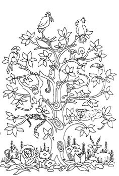 Free coloring page «coloring-adult-difficult-tree-bird-butterflies-snake-monkey».