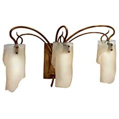 Soho 3-light Brown Hammered Ore Ice Glass Light Fixture   Overstock.com Shopping - Top Rated Varaluz Sconces & Vanities