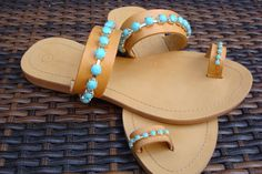 Greek leather sandals decorated with by AllAboutEveCreations, $65.00
