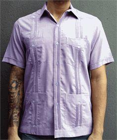 short-sleeve-lilac-light-purple-guayabera