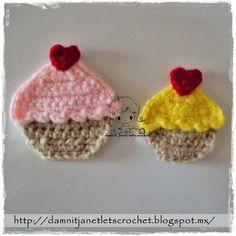 d it Janet, let's crochet!: Cupcake Appliqué free pattern