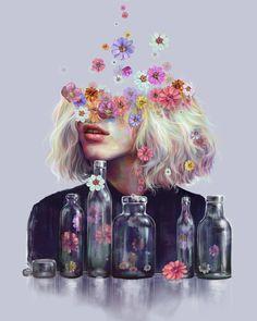 Metamorphosis by Veronika Weroni Vajdova - paintings - Blumen Metamorphosis Art, Art Watercolor, Surreal Art, Aesthetic Art, Collage Art, Art Inspo, Art Girl, Amazing Art, Fantasy Art
