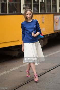 Kristina Bazan in the streets of Milan during the Milan fashion week on September 20, 2014 in Milan, Italy.  (Photo by Timur Emek/Getty Images)