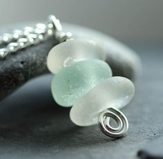 Sea glass necklace stacked sea glass genuine by BorealisSeaGlass, $18.00