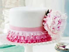 So cute: Pretty-as-a-Peony Cake {recipe and how-to}.