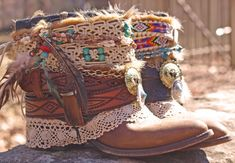 hmmm… these may have inspired something!.. might try making my own version for some boots i have :) Upcycled REWORKED vintage luxury boho COWBOY by TheLookFactory, $225.00