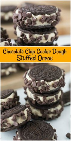 Recipe for Chocolate Chip Cookie Dough Stuffed Oreos Cookies. A very simple recipe. Cookie Desserts, Just Desserts, Dessert Recipes, Xmas Desserts, Amazing Cookie Recipes, Chocolate Chip Cookie Dough, Chocolate Cookies, Oreos, Chocolate Recipes