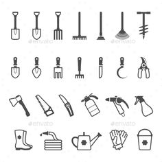Set of Garden Tools (Vector EPS CS can collection earth ecology farm fork Garden Tool Storage, Garden Tools, Web Design, Logo Design, Graphic Design, Plant Icon, Garden Hoe, Garden Illustration, Man Set