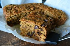 Quick Oil-free Chocolate Chip Banana Squares on An Unrefined Vegan.