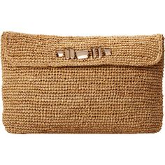 Hat Attack Raffia Crochet Clutch with Crossbody Strap and Stones