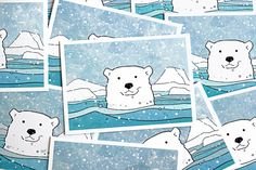 A set of 10 Christmas cards featuring a swimming polar bear illustration. Originally drawn with ink and watercolors. Blank inside suitable for any