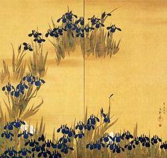Sakai Hōitsu (酒井 抱一, 1761-1828) Irises (Kakitsubata zu byôbu, 燕子花図屏風).