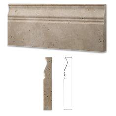Ivory Travertine Honed 5 X 12 Baseboard Trim Molding