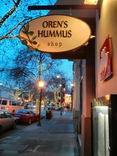 Oren's Hummus Shop in Palo Alto, CA. Spent many of our first dates here! We love the veggie and chicken skewers with a side of hummus.