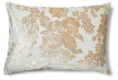 Floral 14x20 Velvet Pillow, White/Beige
