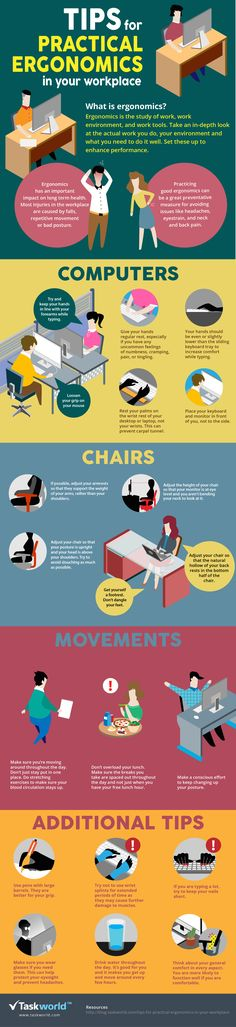 Office safety-Visualistan: Tips For Practical Ergonomics In Your Workplace Office Safety, Workplace Safety, Health Tips, Health Care, Medical Transcriptionist, Psychological Well Being, Workplace Wellness, Bons Plans, Injury Prevention
