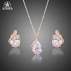 Rose Gold Plated Clear Waterdrop Clear Cubic Zirconia Stud Earrings and Pendant Necklace Jewelry Sets for Women TG0201