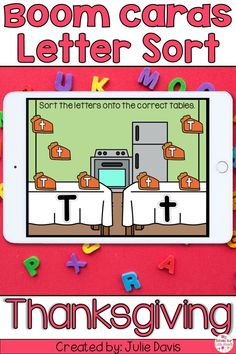 Celebrate Thanksgiving with your preschool or kindergarten class by identifying and sorting letters. This Boom Learning activity focuses on CCSS.RF.K.1d standard and includes 26 different digital task cards where students will sort capital and lowercase letters. Whether you are teaching virtually or are looking for a holiday themed activity this makes a perfect independent literacy center. Holiday Activities For Kids, Classroom Activities, Learning Activities, Thanksgiving Activities, Teaching Resources, Interactive Learning, Student Learning, Thanksgiving Letter, Kindergarten Blogs
