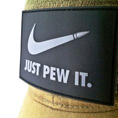 """Relax take aim and """"JUST PEW IT"""". This is morale patch is your standard 2x3 inch patch, perfect for your hat and gear. This is available in 8 different color options. Own this badass piece of morale n"""