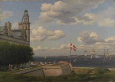Christoffer Wilhelm Eckersberg - Udsigt fra Kronborg Vold over flagbatteriet og Sundet til den svenske kyst (1829).jpg (1600×1140)