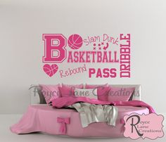 Basketball Word Art Extra Large Size for Girls Room by Royce Lane Creations