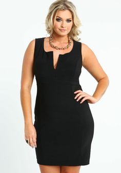 Plus Size Tailored Little Black Dress, BLACK, large