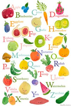 Fruit and vegetable alphabet illustrated by Heather Rosas (via Print & Pattern).