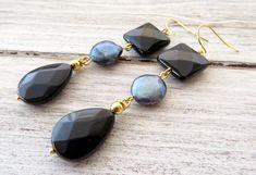 Black onyx earrings, blue pearl earrings, dangle earrings, drop earrings, gemstone earrings, modern jewelry, contemporary jewelry