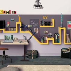 Coolest bookshelf idea!! Is it a skyline? Would be cool to have an accurate one of Saint Pete.